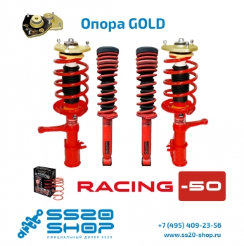 Комплект подвески в сборе SS20 Racing с опорой Gold занижение -50 мм для ВАЗ 2192-2194 Лада Калина 2